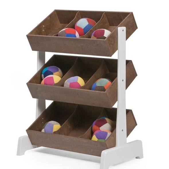 """Etagères de rangement en bois pour jouets Toy Store """"Noyer"""""""