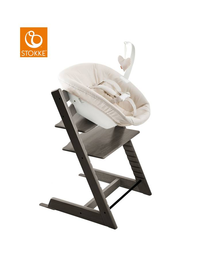 Chaise haute tripp trapp gris brume stokke dr m design for Chaise haute stokke