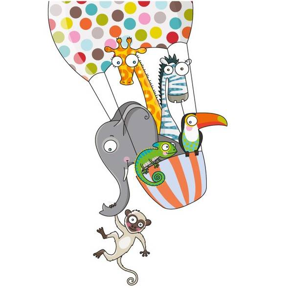 "Sticker ""Un tour en ballon"" (124 x 80 cm)"