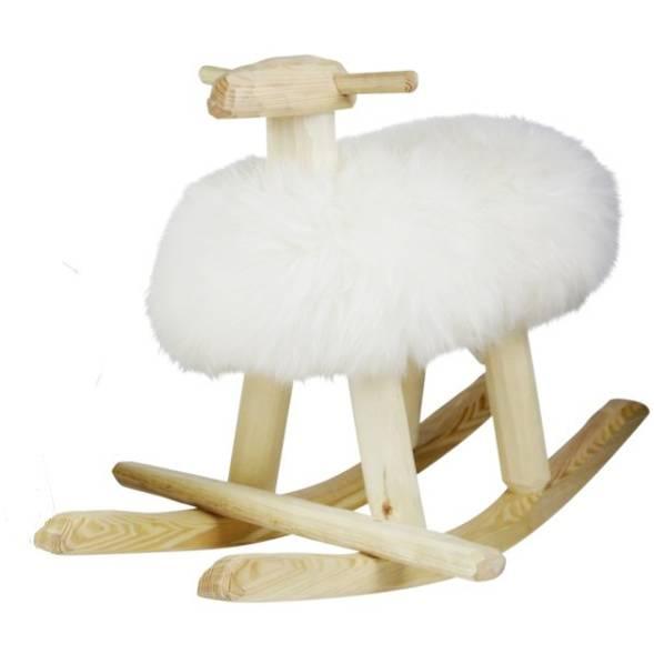 Mouton à bascule en bois  et peau de mouton Emil