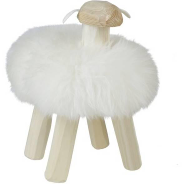 Tabouret Mouton Gustave en bois  et peau de mouton