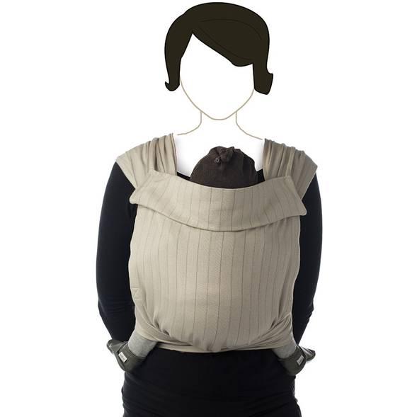 "Echarpe de portage BB Tai en coton bio ""Warm taupe"""