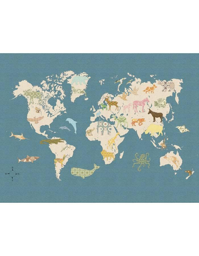 Papier peint mappemonde 1 400x300 cm inke dr m design - Papier peint mappemonde ...