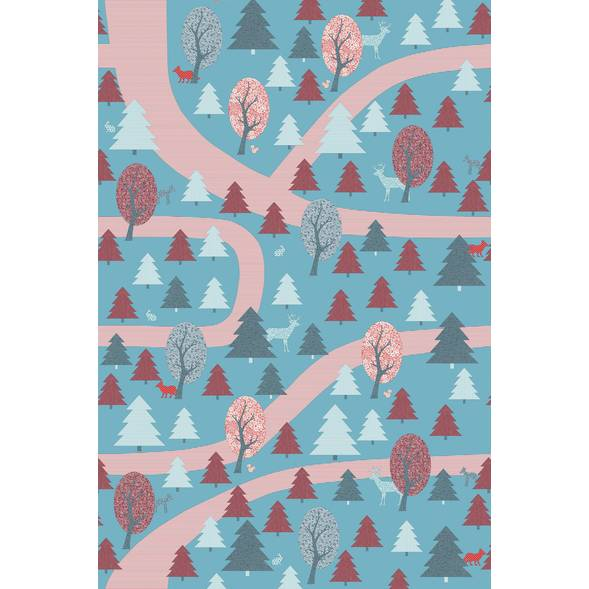 """Papier peint 200x300 """"Promenade en Forêt"""" - Rouge"""