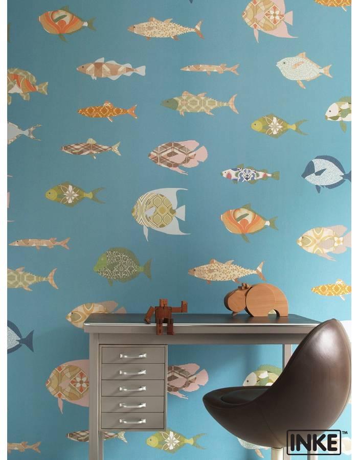 papier peint 200x300 poissons bleus inke dr m design. Black Bedroom Furniture Sets. Home Design Ideas
