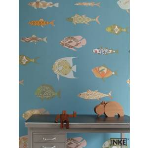 "Papier peint 200x300 ""Poissons bleus"" - inke -"