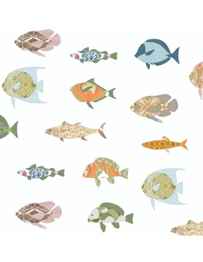 papier peint 200x300 poissons multicouleurs inke dr m. Black Bedroom Furniture Sets. Home Design Ideas
