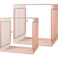 Etagères enfant en métal carrées rose Done by Deer