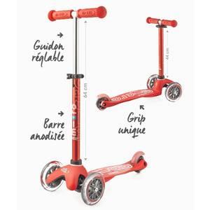 """Trottinette enfant 3 roues Mini Micro Deluxe """"Rouge anodisé"""" micro"""