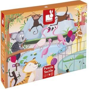 """Puzzle enfant géant tactile """"Une journée au Zoo"""" janod -"""