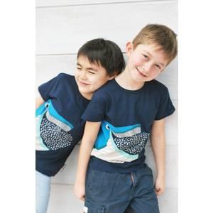 T-shirt enfant manches courtes en coton bio Baleine coq en pâte