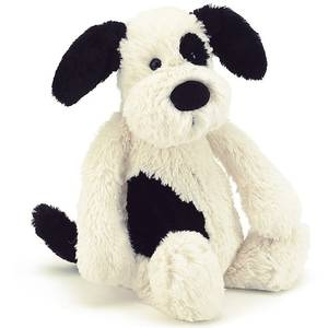 Peluche Bashful chien noir et blanc jellycat