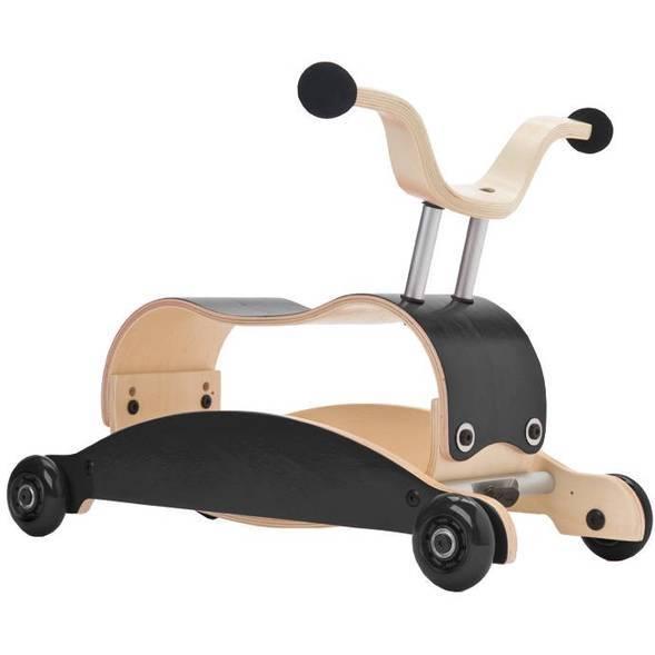 Trotteur Porteur Mini-Flip 3 en 1 en bois Noir/Noir Wishbone