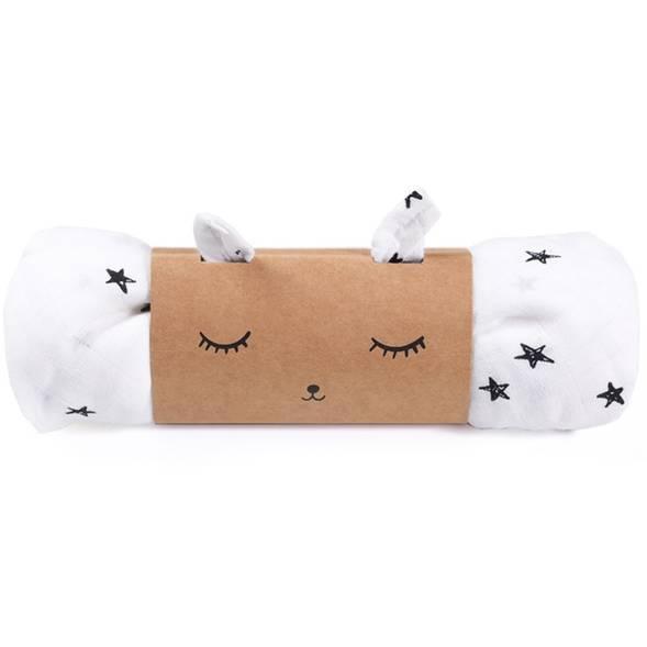 """1 maxi-lange en mousseline de coton bio """"Stars"""""""