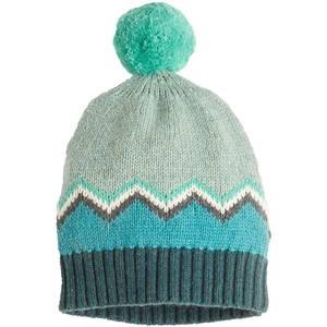 Chunky knitted zig zag pom pom hat blues - bonnie mob