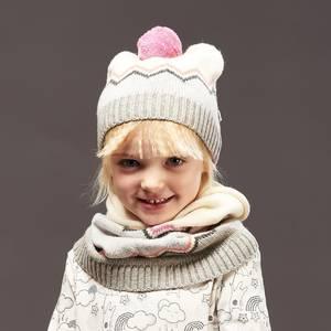 Chunky knitted zig zag pom pom hat pinks - bonnie mob