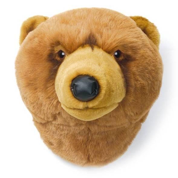 Trophée tête déco animal ours brun wild soft