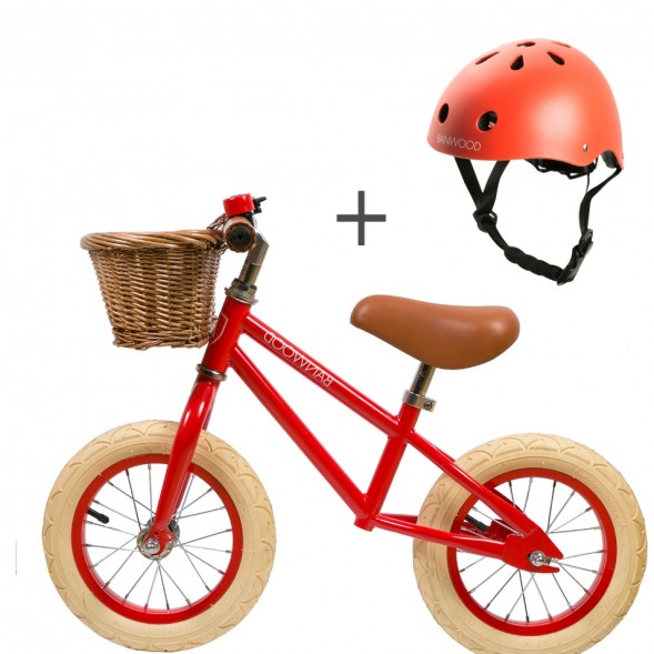 "Pack Draisienne First Go! (3-5 ans) + casque ""Red"""