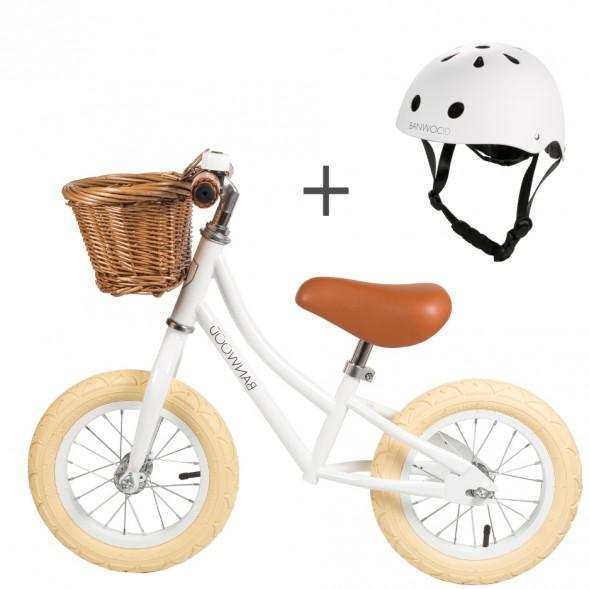 "Pack Draisienne First Go! (3-5 ans) + casque ""Blanc"""