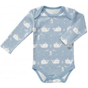 """Body bébé manches longues en coton bio """"Baleine Bleue"""" Fresk"""