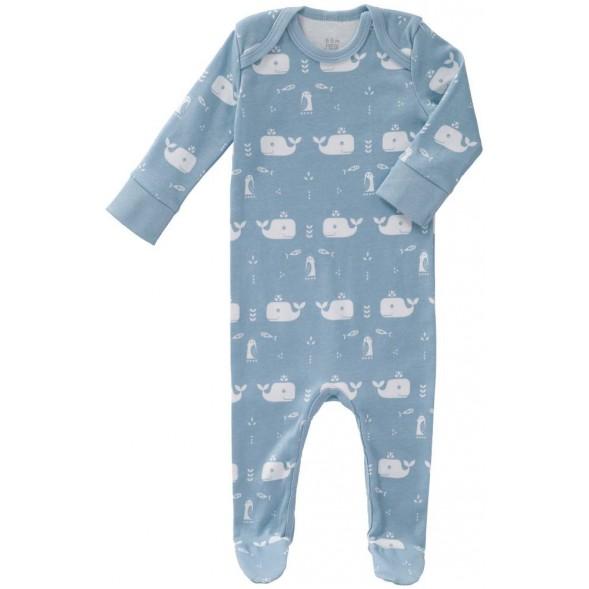 "Pyjama bébé avec pieds en coton bio ""Baleine Bleue"""