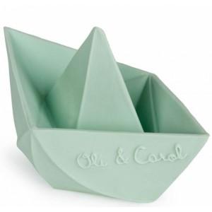 "Jouet de bain écologique Bateau Origami en hevea ""Menthe"" Oli & Carol"