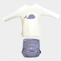 "Ensemble maillot + top anti-UV ""Marin"""