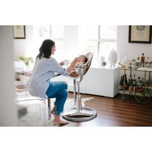 Chaise haute fresco CHROME TITANE assise argent - bloom