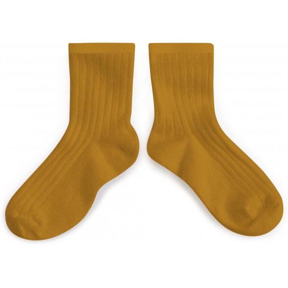 """Chaussettes courtes enfant en coton égyptien """"Moutarde de dijon"""""""