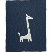 "Couverture bébé tricotée en coton bio 80*100 ""Girafe Indigo"" Fresk"