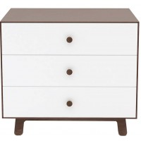 "Commode en bois Merlin 3 tiroirs ""Noyer / base Sparrow"""