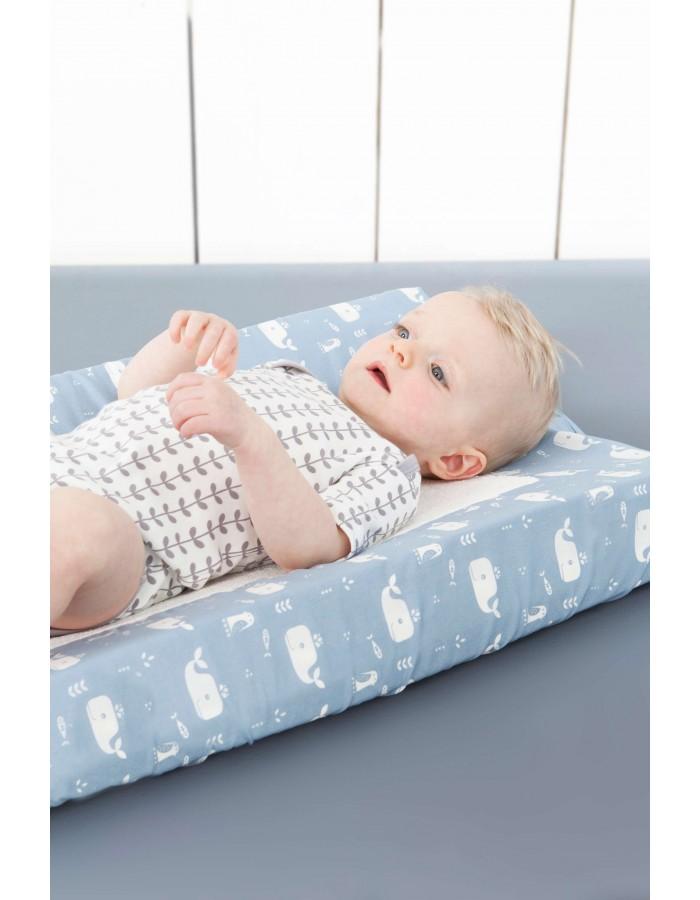 housse de matelas langer en coton bio baleine bleue. Black Bedroom Furniture Sets. Home Design Ideas