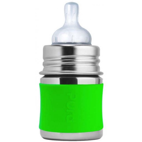 "Biberon évolutif en inox à tétine débit lent (0-12 mois) ""Vert"" (150 ml)"