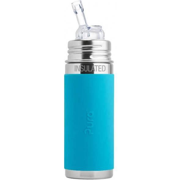 """Gourde en inox isotherme (260 ml) avec paille """"Bleu"""""""