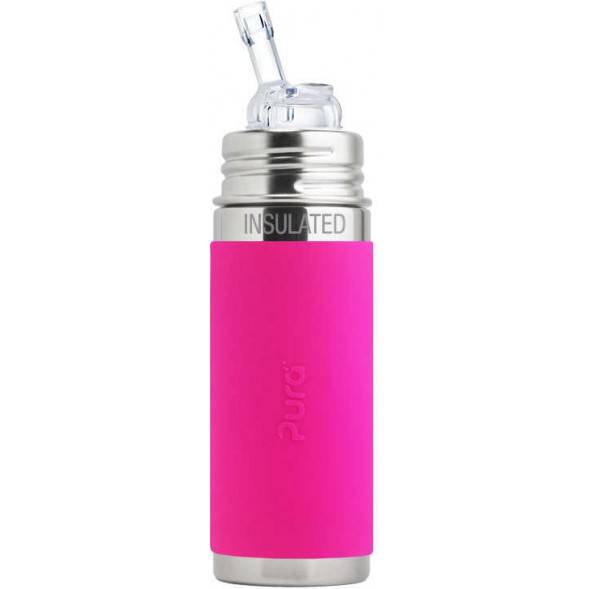 "Gourde isotherme inox avec paille (260 ml) ""Rose"""