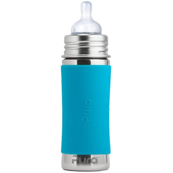 """Biberon en inox à tétine débit moyen (3 mois et +) """"Bleu"""" (325 ml)"""