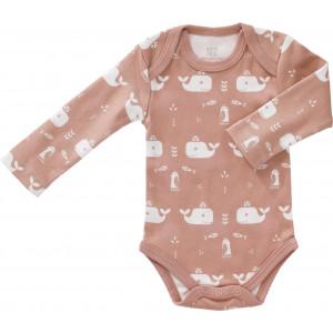 """Body bébé manches longues en coton bio """"Baleine Rose"""" Fresk"""