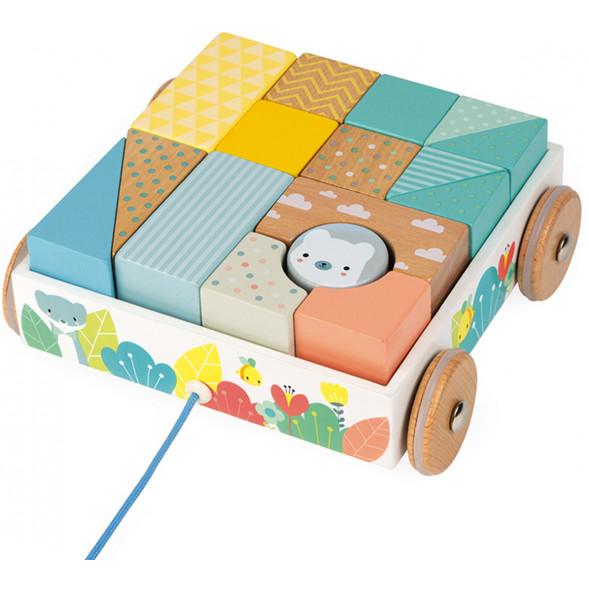 """Chariot de cubes à promener en bois """"Pure"""""""