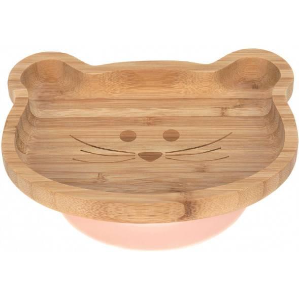 """Assiette avec ventouse en bois de bambou """"""""Little Chums Souris"""""""