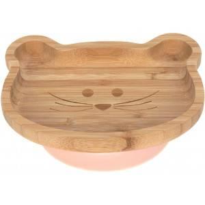 """Assiette bébé en bois de bambou avec ventouse """"Little Chums Souris"""" Lassig"""