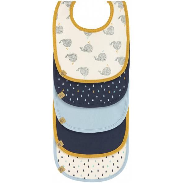 """Bavoirs imperméables en coton bio """"Little Water Baleine""""  (3-18 mois) (x5)"""