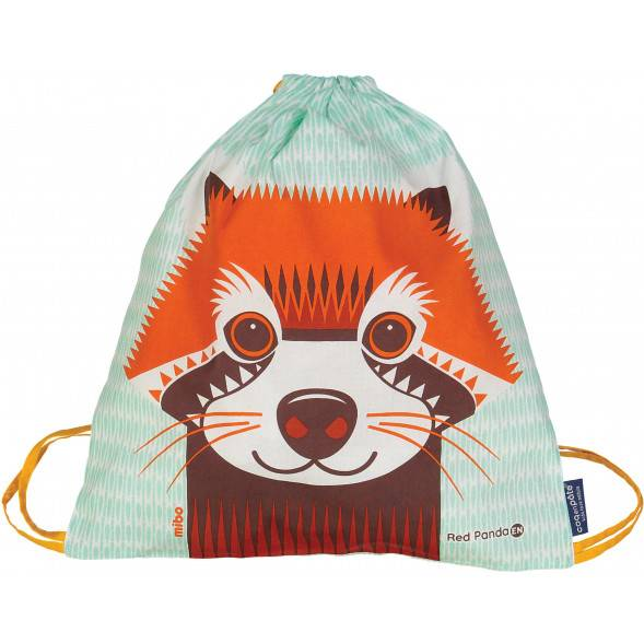 Sac d'activités enfant en coton bio Mibo Panda Roux