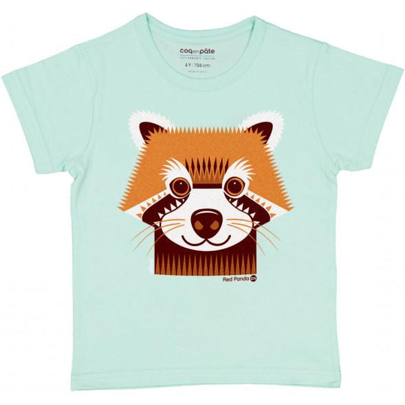 "T-shirt manches courtes en coton bio ""Mibo Panda Roux"""
