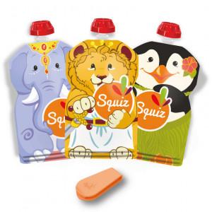 """Pack de 3 Gourdes Réutilisables Squiz (130 ml) """"Carnaval"""""""
