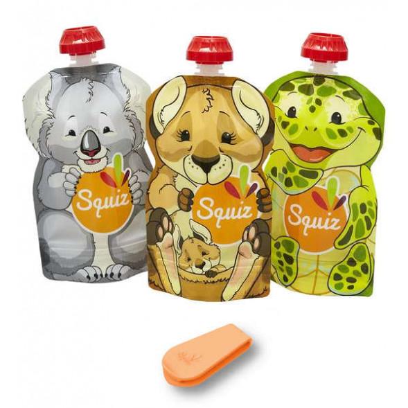"""Pack de 3 Gourdes Réutilisables Squiz (130 ml) """"Australia"""""""