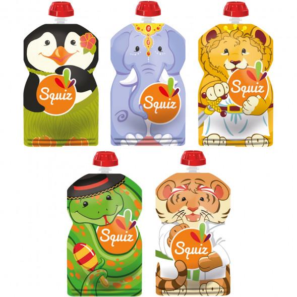 """Pack de 5 Gourdes Réutilisables Squiz (130 ml) """"Carnaval"""""""