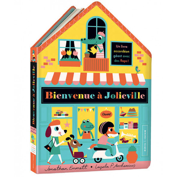 """Livre-accordéon """"Bienvenue à Jolieville"""" (3 ans et +) de Ingela P Arrhenius"""