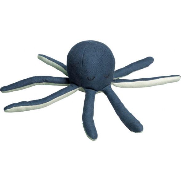 "Hochet Soft en coton bio ""Octopus Blue"""