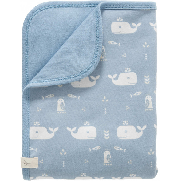 """Couverture bébé été en coton bio """"Baleine Bleue"""" (80x100 cm)"""