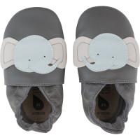 """Chaussons bébé en cuir Soft Sole """"Elephant"""" Gris Bobux"""